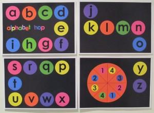 Alphabet Hop Boy Mama Teacher Mama- Game Board 4 pages