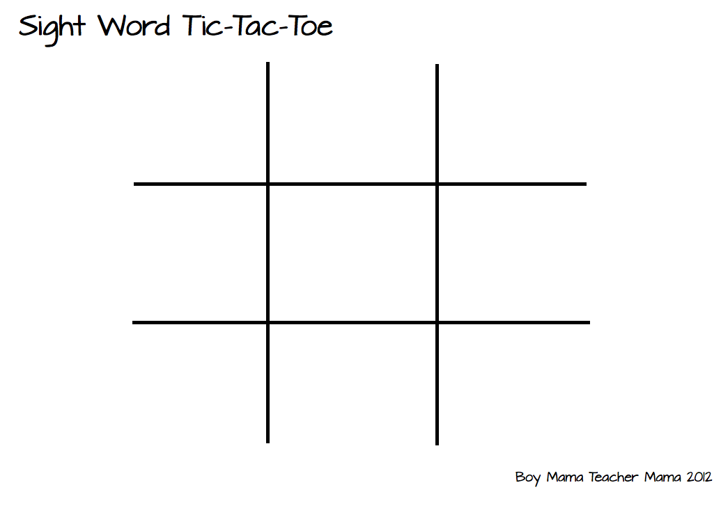 Boy Mama Teacher Mama: Sight Word TicTacToe - Boy Mama Teacher Mama
