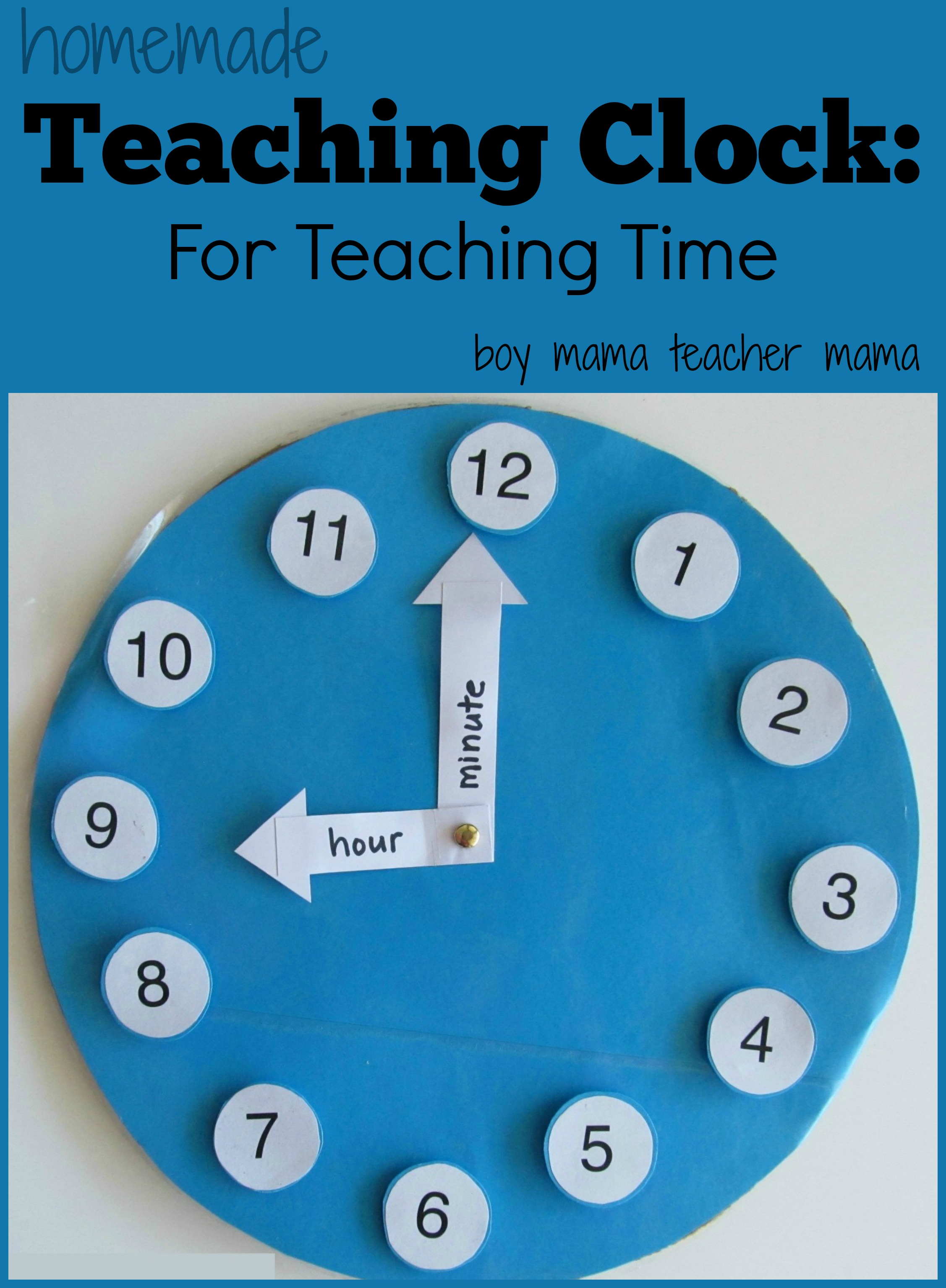 Worksheet Teaching Time Clock teacher mama a homemade teaching clock boy clock
