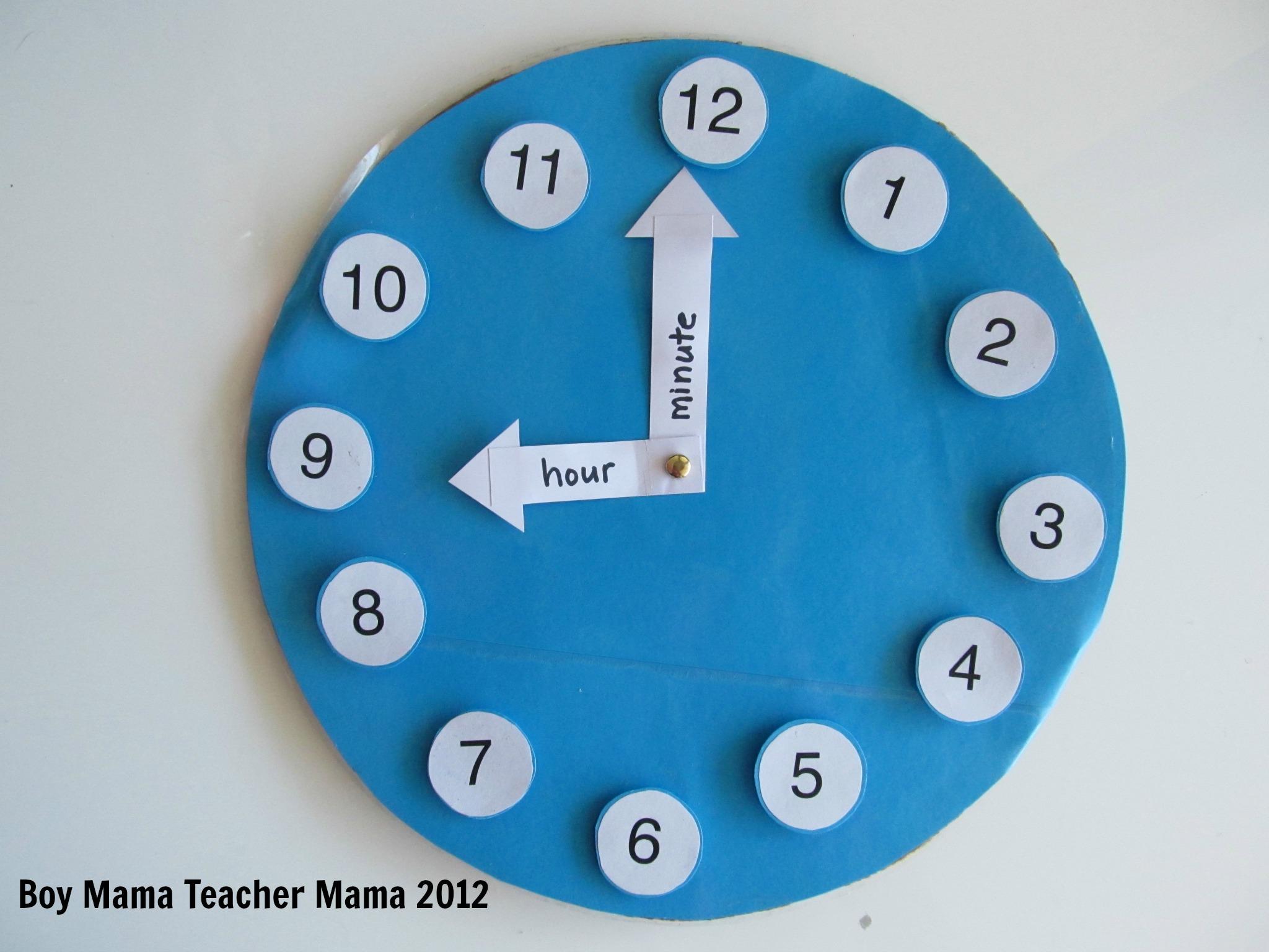 Teacher Mama A Homemade Teaching Clock Boy Mama Teacher Mama