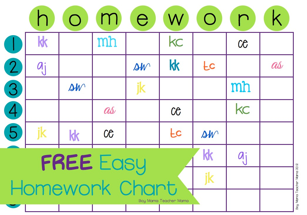 Teacher Mama Free Easy Homework Chart  Boy Mama Teacher Mama