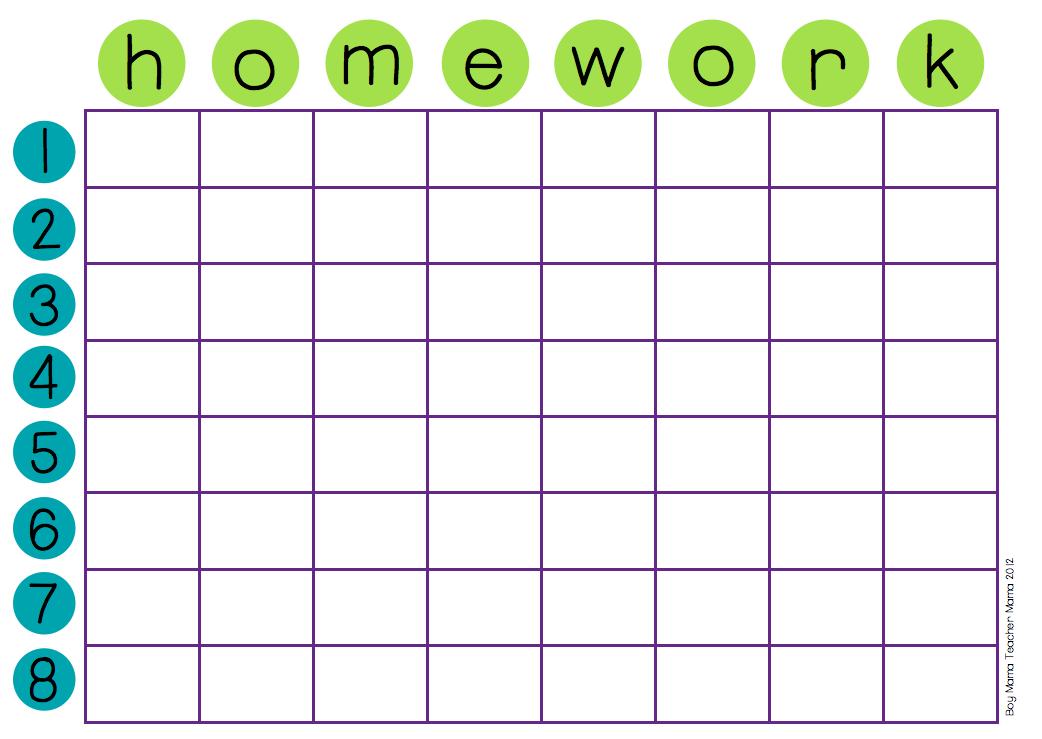 laminated homework chart