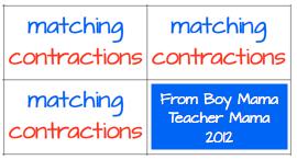 Boy Mama Teacher Mama: Matching Contractions