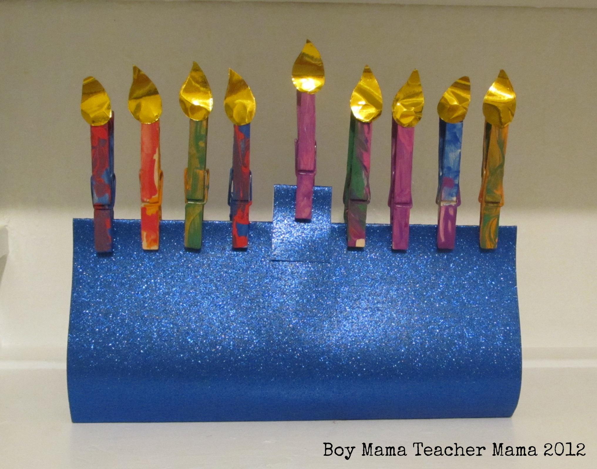 Boy mama clothespin menorah boy mama teacher mama for Menorah arts and crafts
