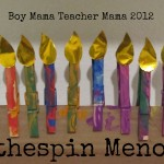 Boy Mama Teacher Mama: Clothespin Menorah