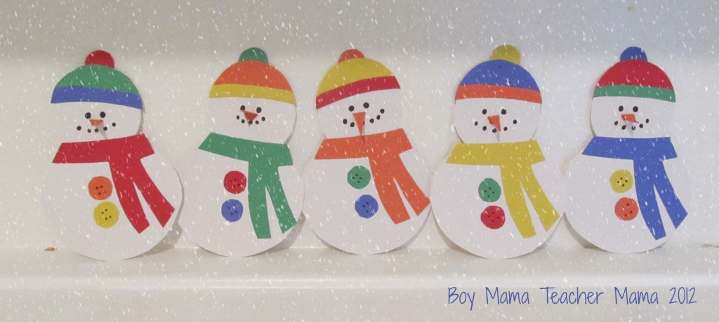 boy mama teacher mama: 5 little snowmen