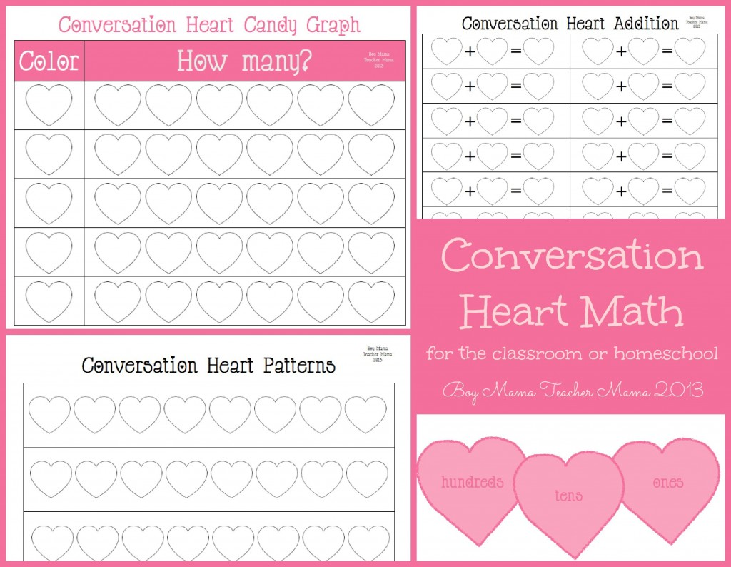boy mama teacher mama: conversation heart math