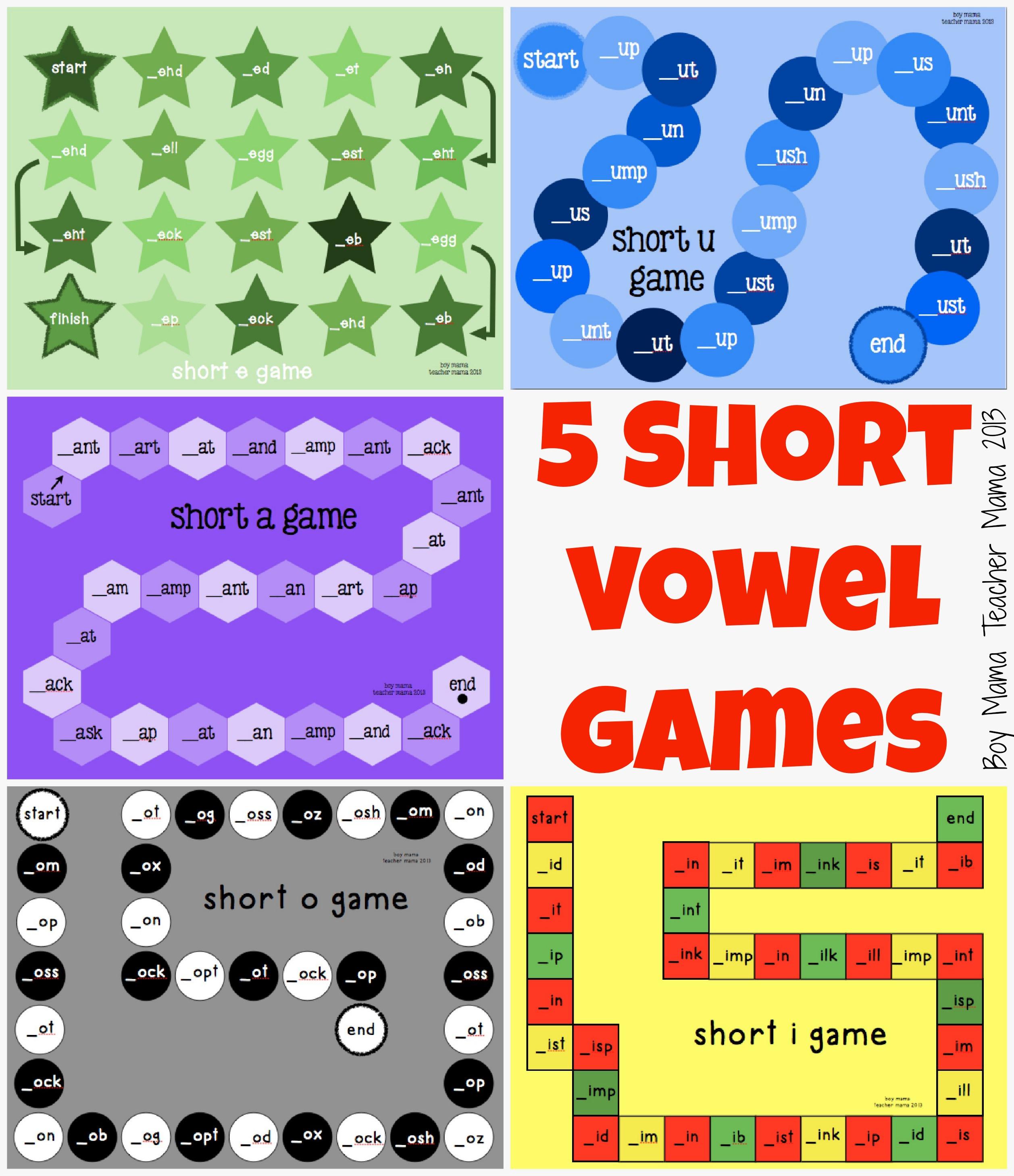 Teacher Mama: Five Short Vowel Games - Boy Mama Teacher Mama