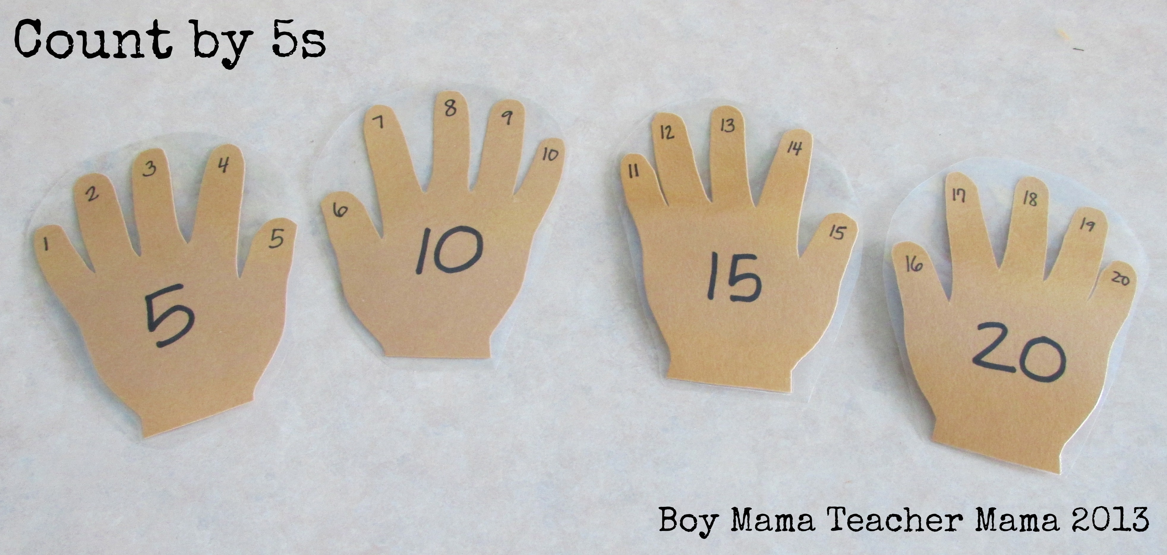 ... the counts by 5s on the palms and the counting numbers on the fingers