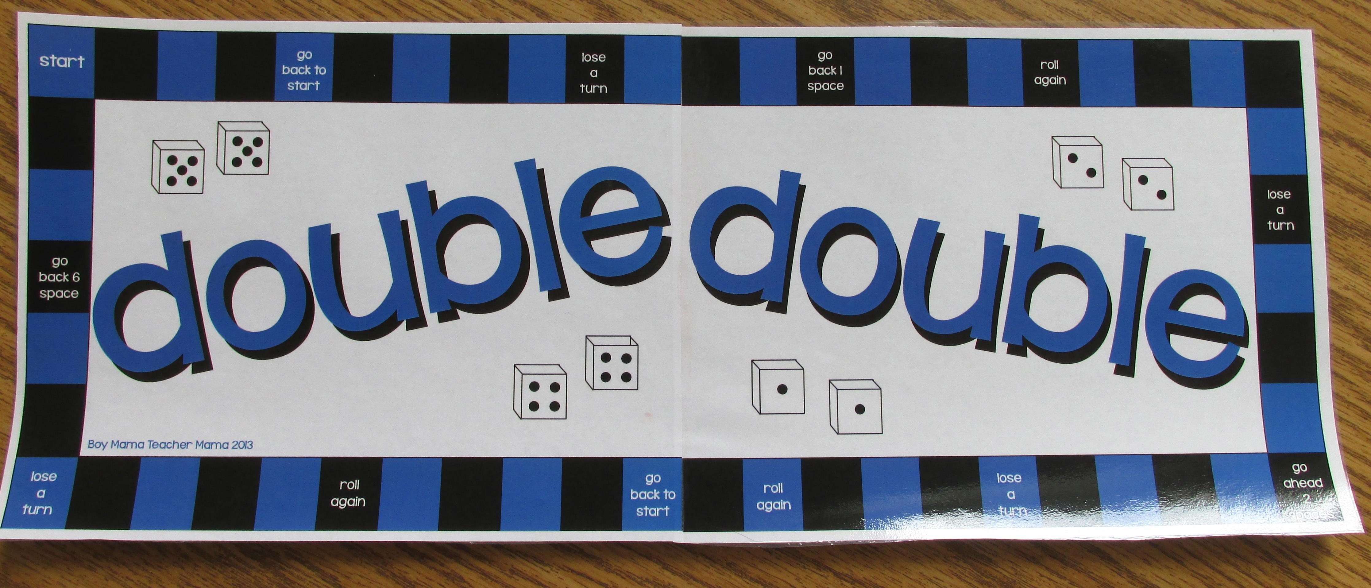 Teacher Mama: Math Fact Practice: Doubles Game - Boy Mama Teacher Mama