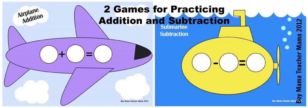 Boy MAma Teacher Mama: Two Games for Addition and Subtraction