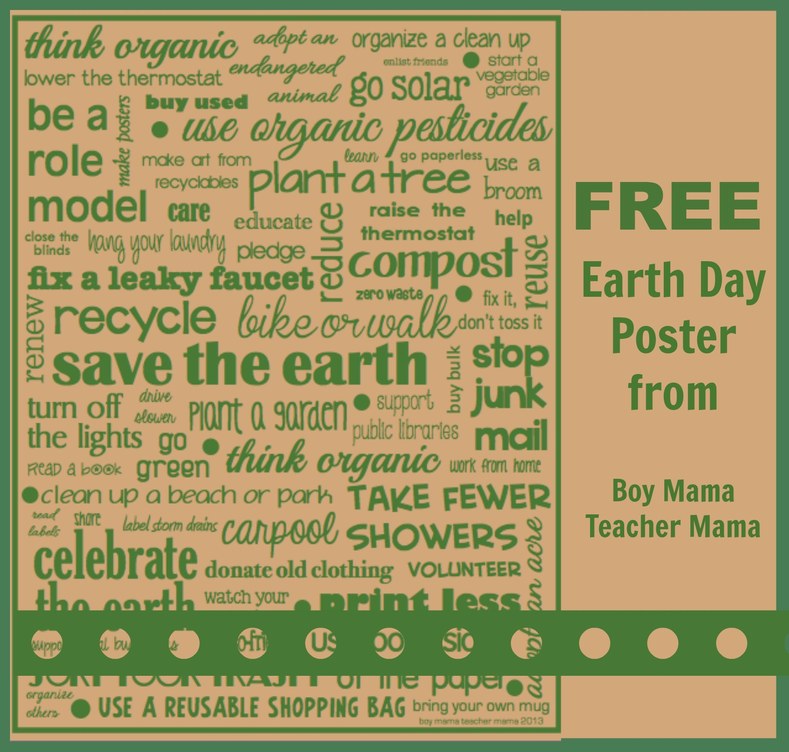 Boy Mama Teacher Free Earth Day Poster