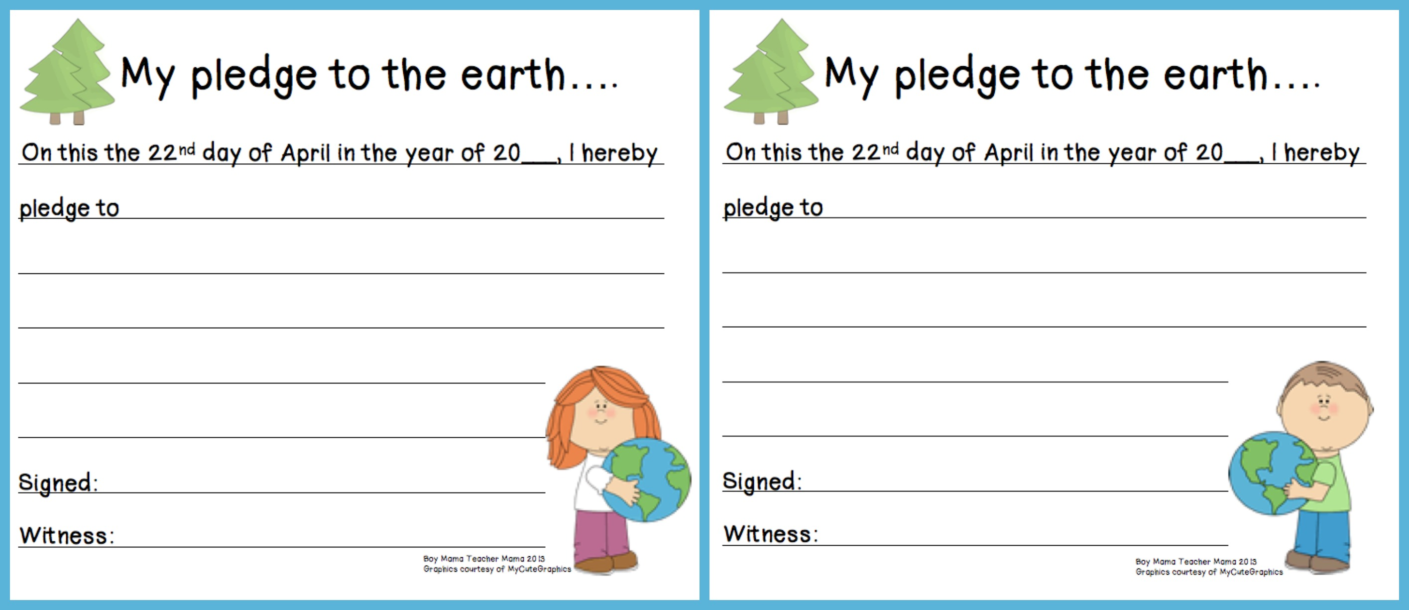 Pledge For Earth Day Kids - Frugal Life Project Printable Earth ...