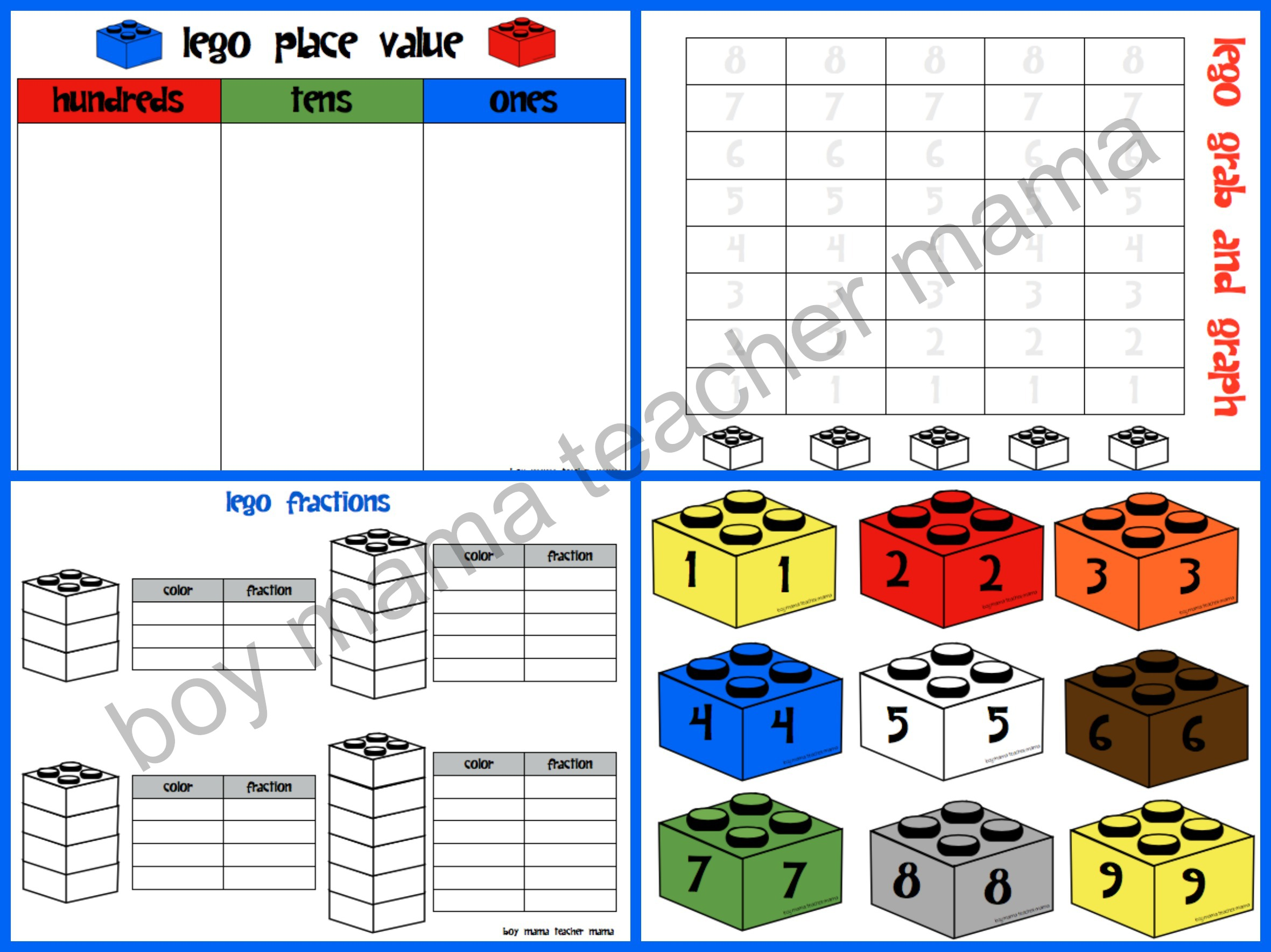 Worksheet Printable Place Value Games teacher mama lego math activities boy other legos