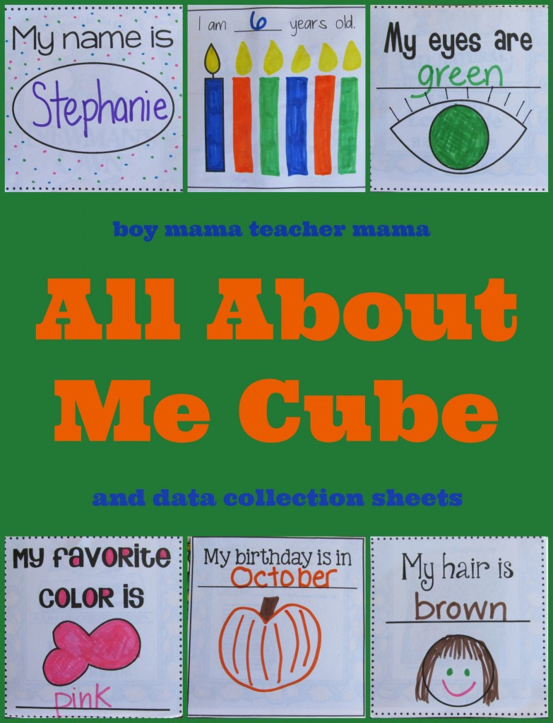 Boy Mama Teacher Mama | All About Me Cube (and data collection papers)