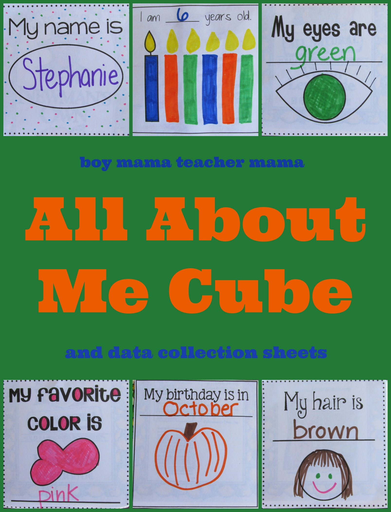 Teacher Mama: All About Me Cube (and data collection papers) - Boy ...