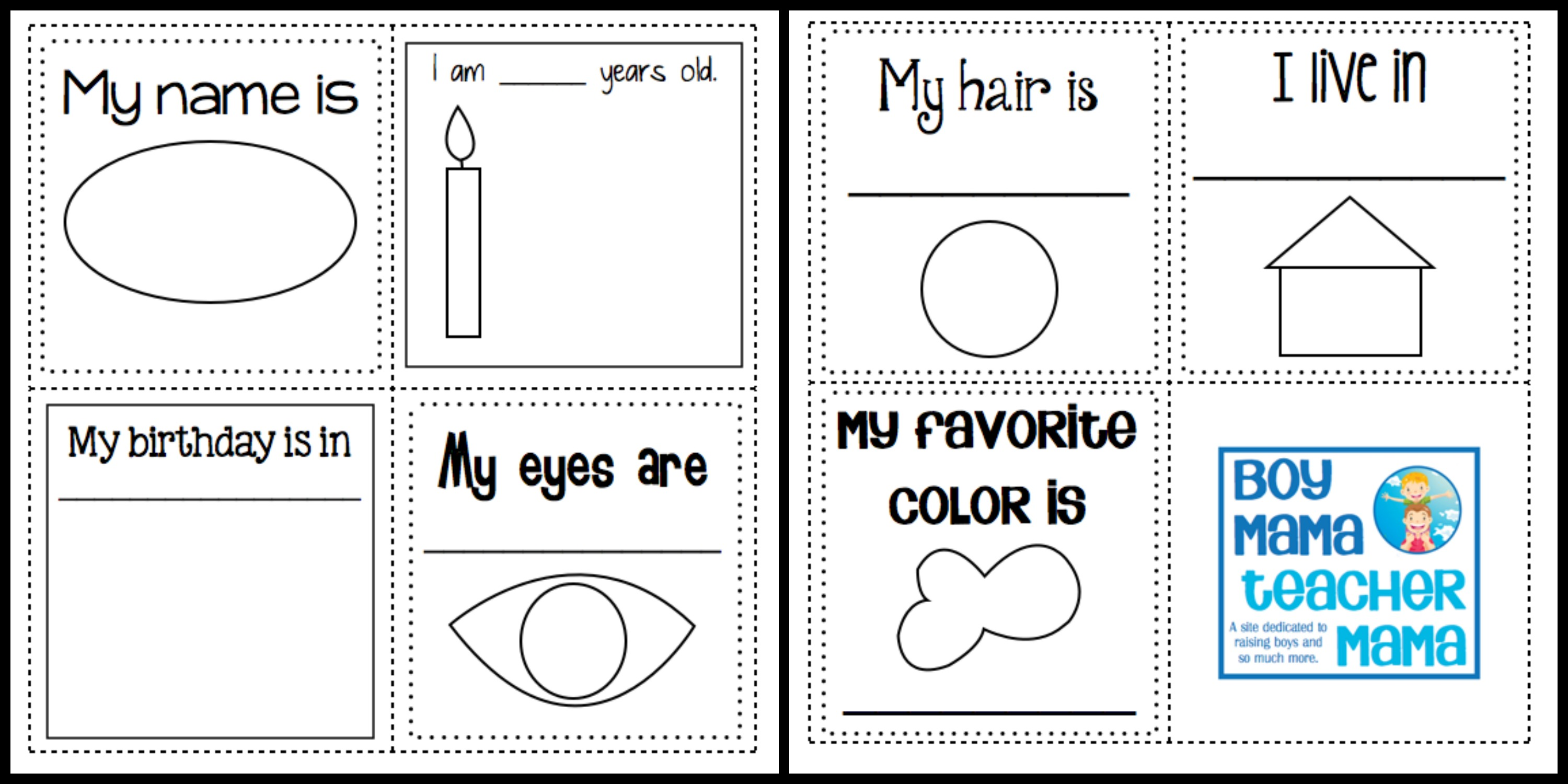Teacher mama all about me cube and data collection for About me template for students