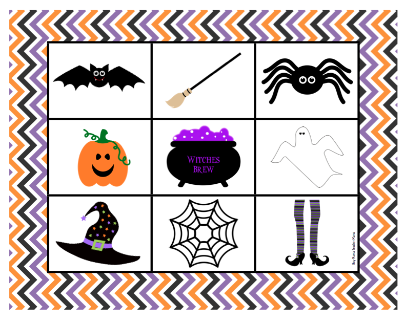 boy mama teacher mama free halloween bingo game - Preschool Halloween Bingo