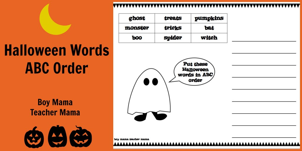 Boy Mama Teacher Mama | FREE Halloween Words ABC