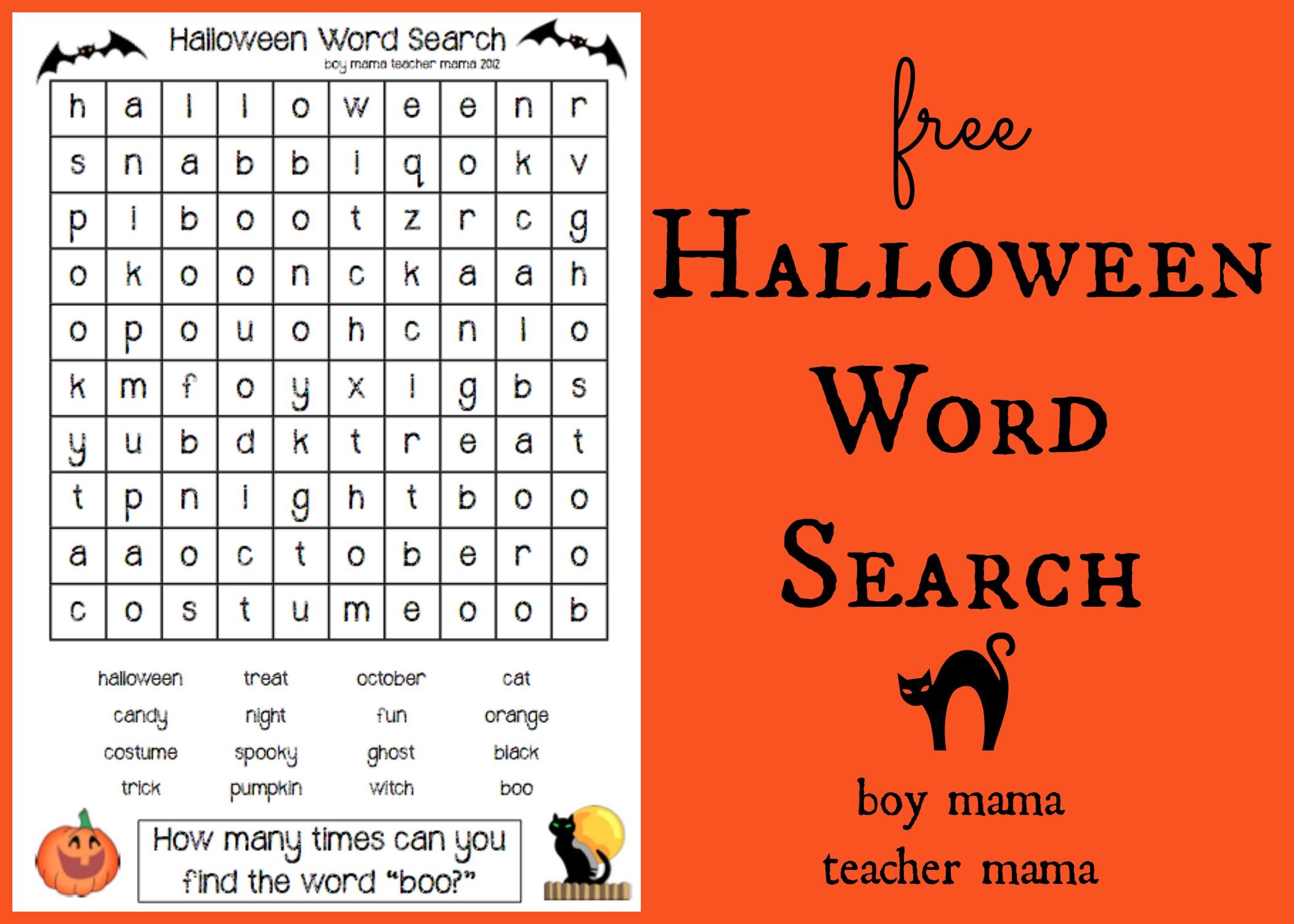 Boy Mama Teacher Mama: FREEBIE: Halloween Word Search