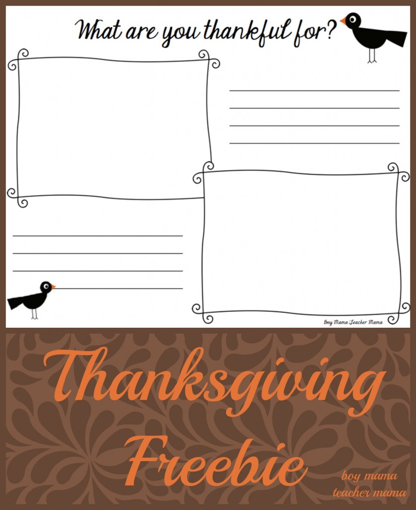 Boy Mama Teacher Mama   What are you Thankful for? Thanksgiving FREEBIE