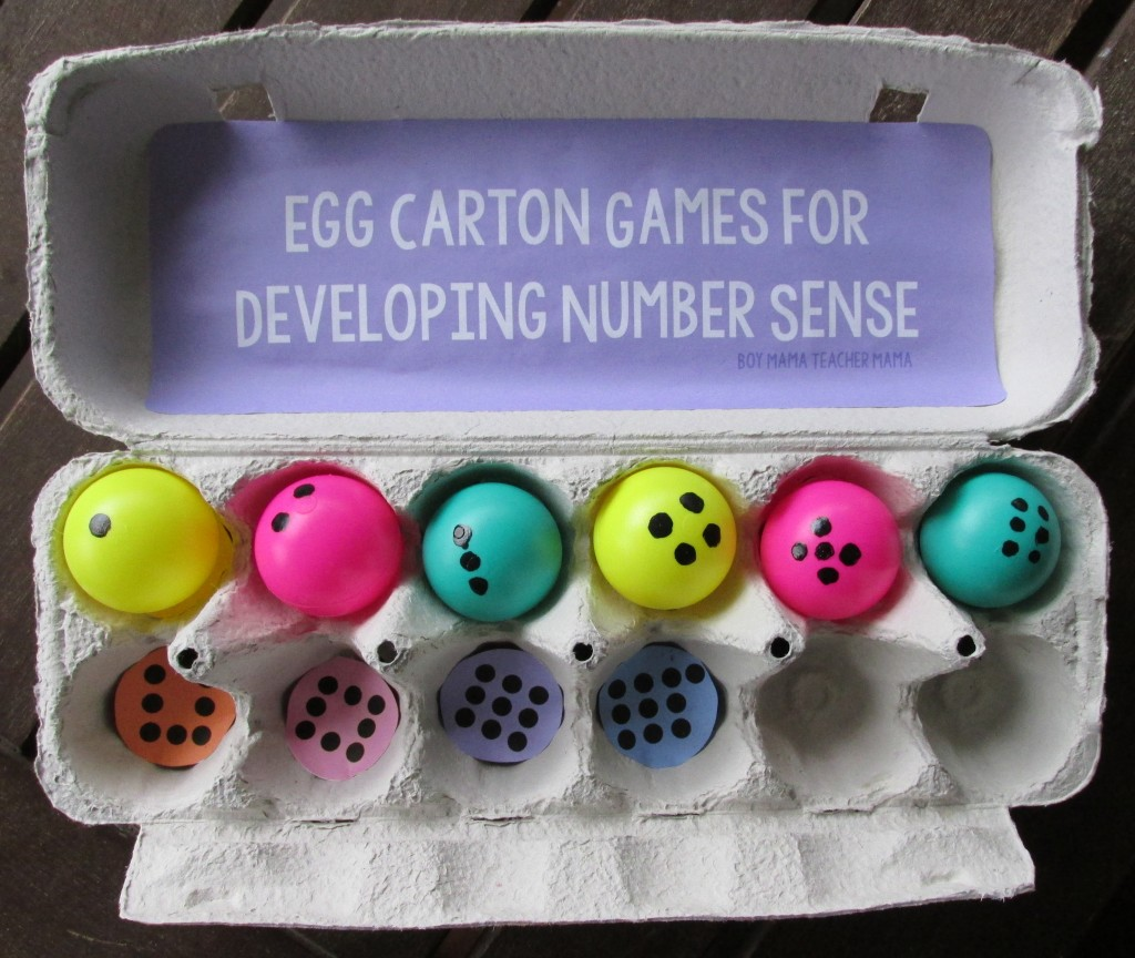 Boy Mama Teacher Mama  Egg Carton Games for Developing Number Sense