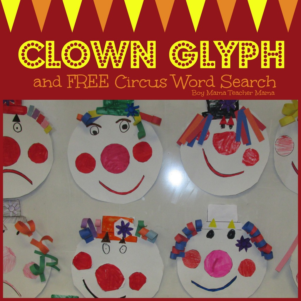 Boy Mama Teacher Mama  Clown Glyph and FREE Word Search