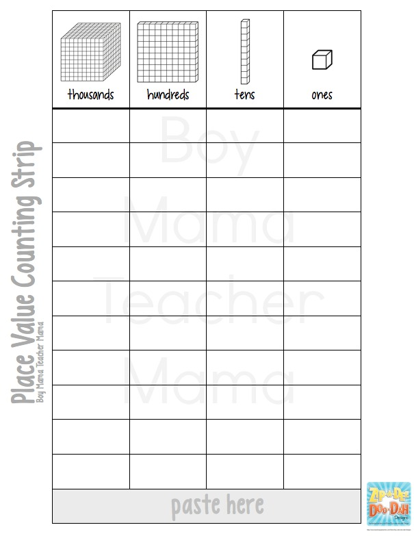 Irresistible image intended for place value strips printable