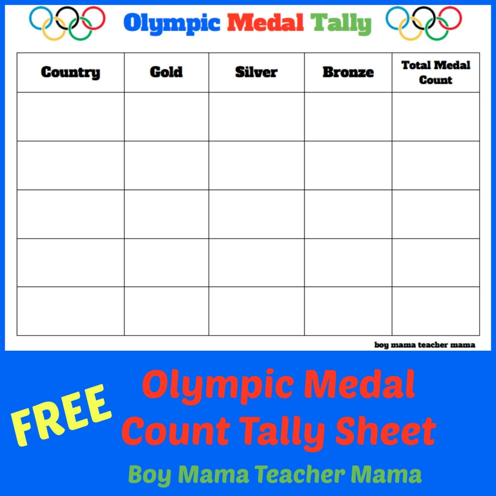 Boy Mama Teacher Mama  FREE Olympic Count Tally Sheet