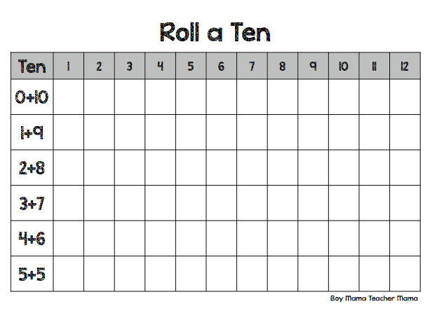 Boy Mama Teacher Mama | Roll a Ten Game