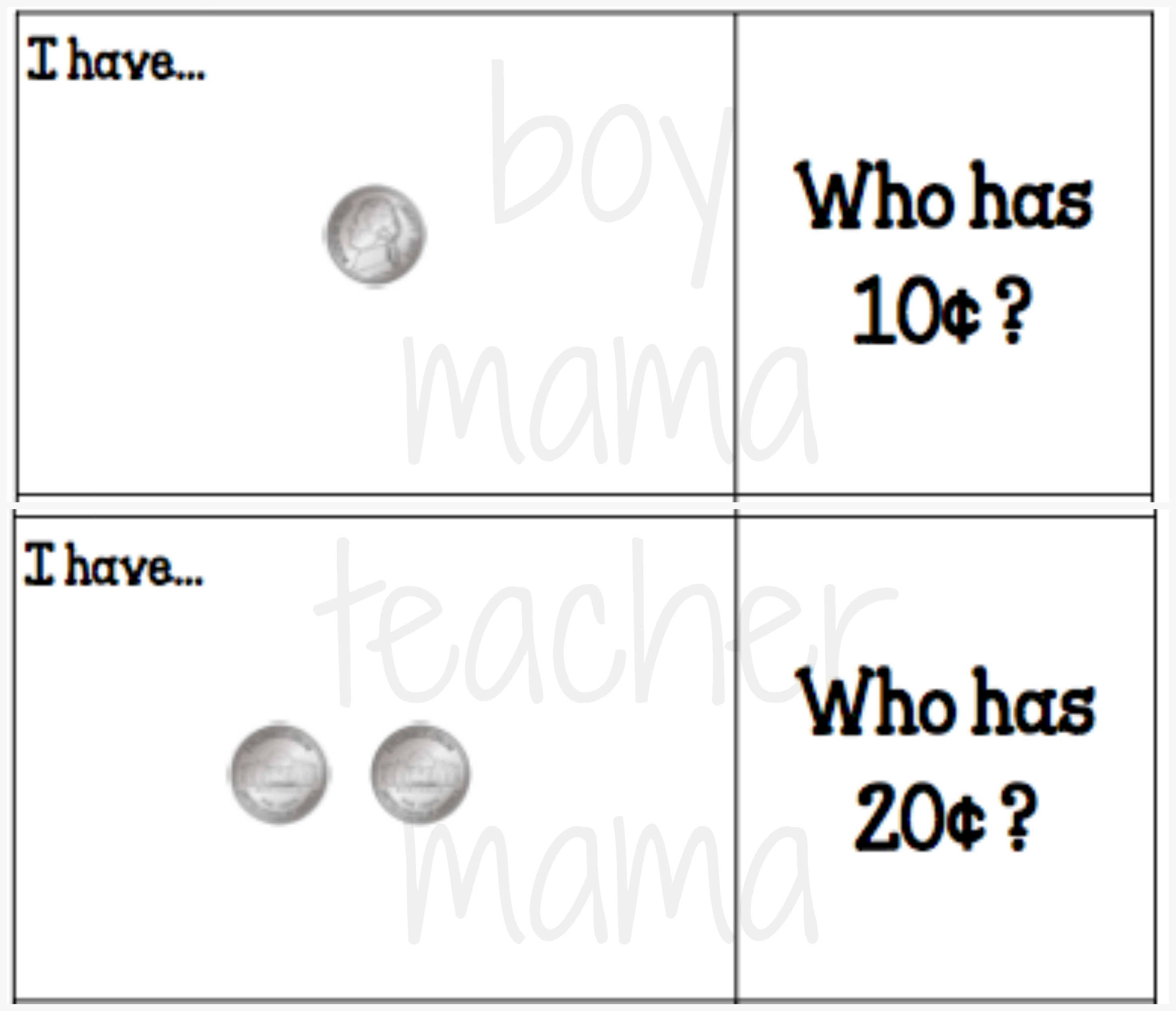 worksheet Counting Pennies And Nickels i have who has games for counting coins boy mama teacher 3 jpg