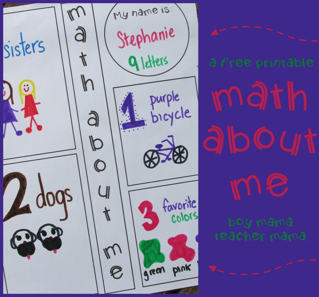 Teacher Mama: FREE Printable: Math About Me {After School Linky ...
