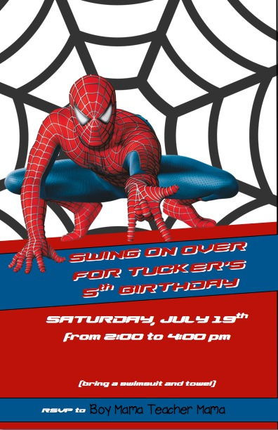 Boy Mama Spiderman Birthday Party Boy Mama Teacher Mama - Spiderman birthday invitation maker free