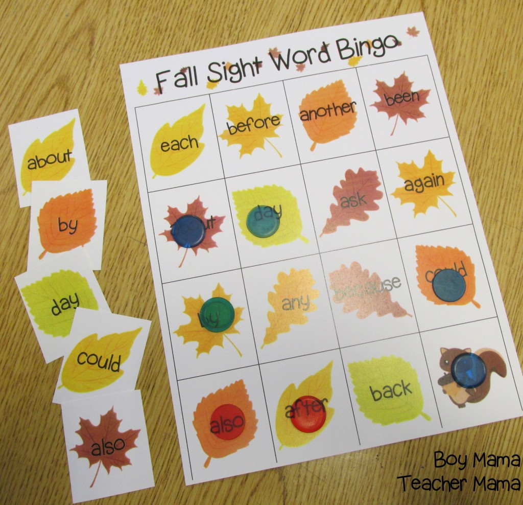 Boy Mama Teacher Mama  Fall Sight Word Bingo Games 2