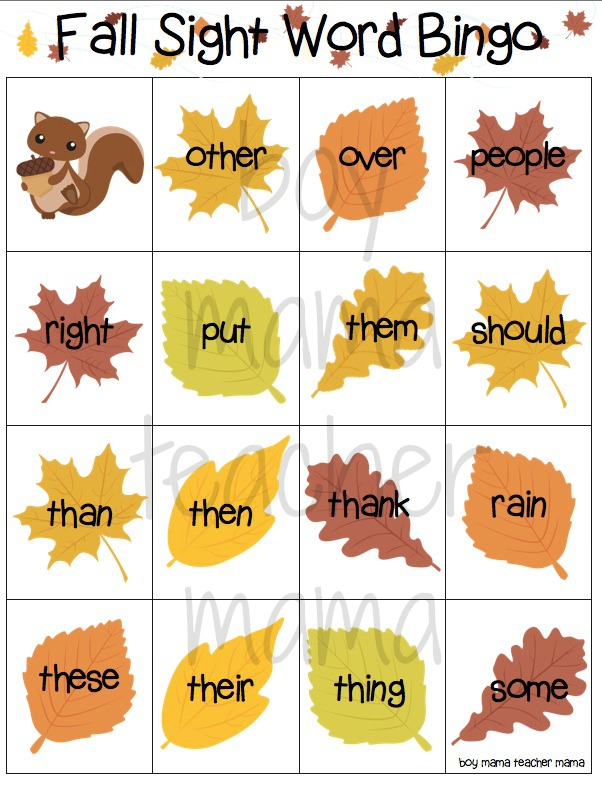 Boy Mama Teacher Mama  Fall Sight Word Bingo Games