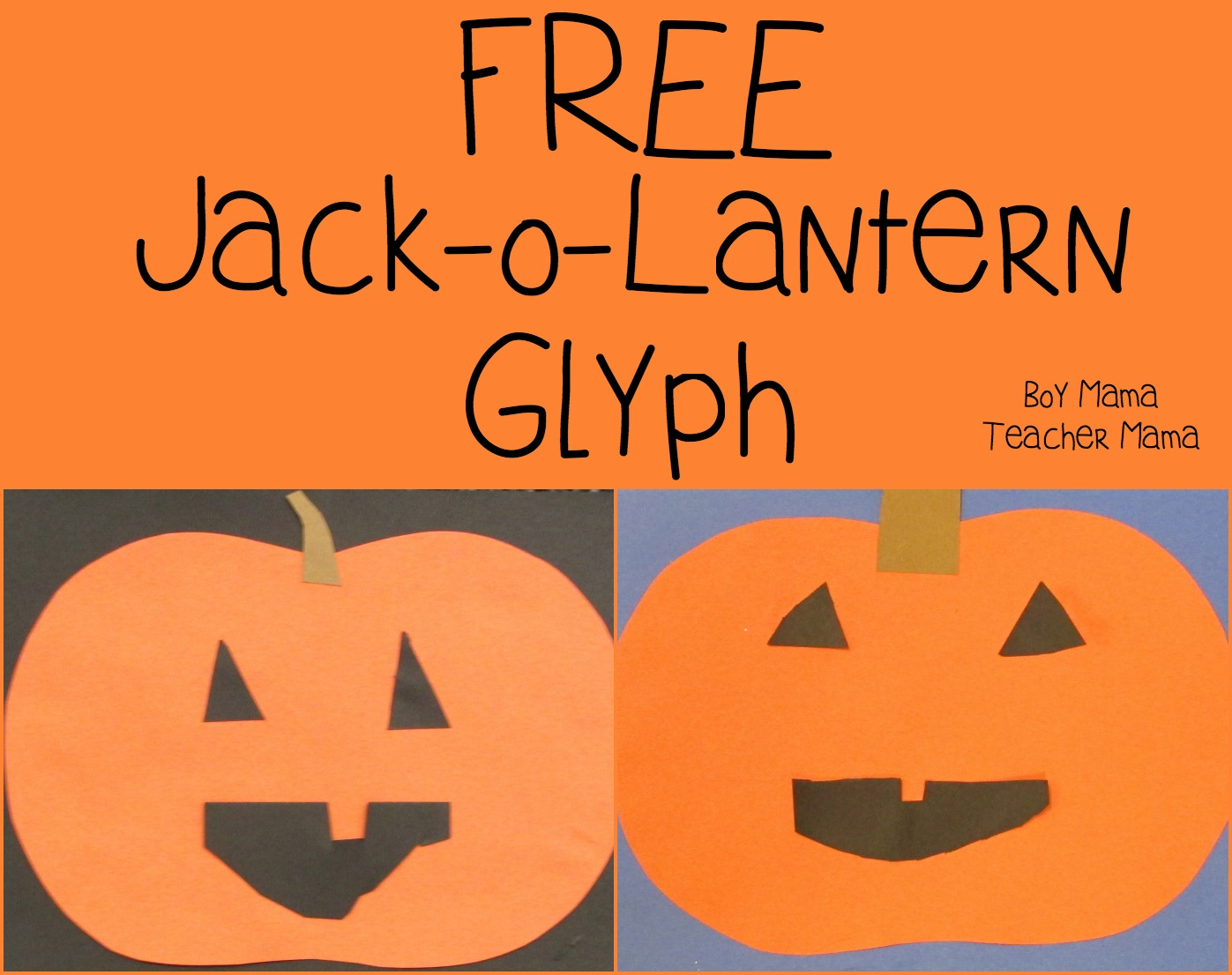 boy mama teacher mama free jack o lantern glyph featured - Halloween Glyphs