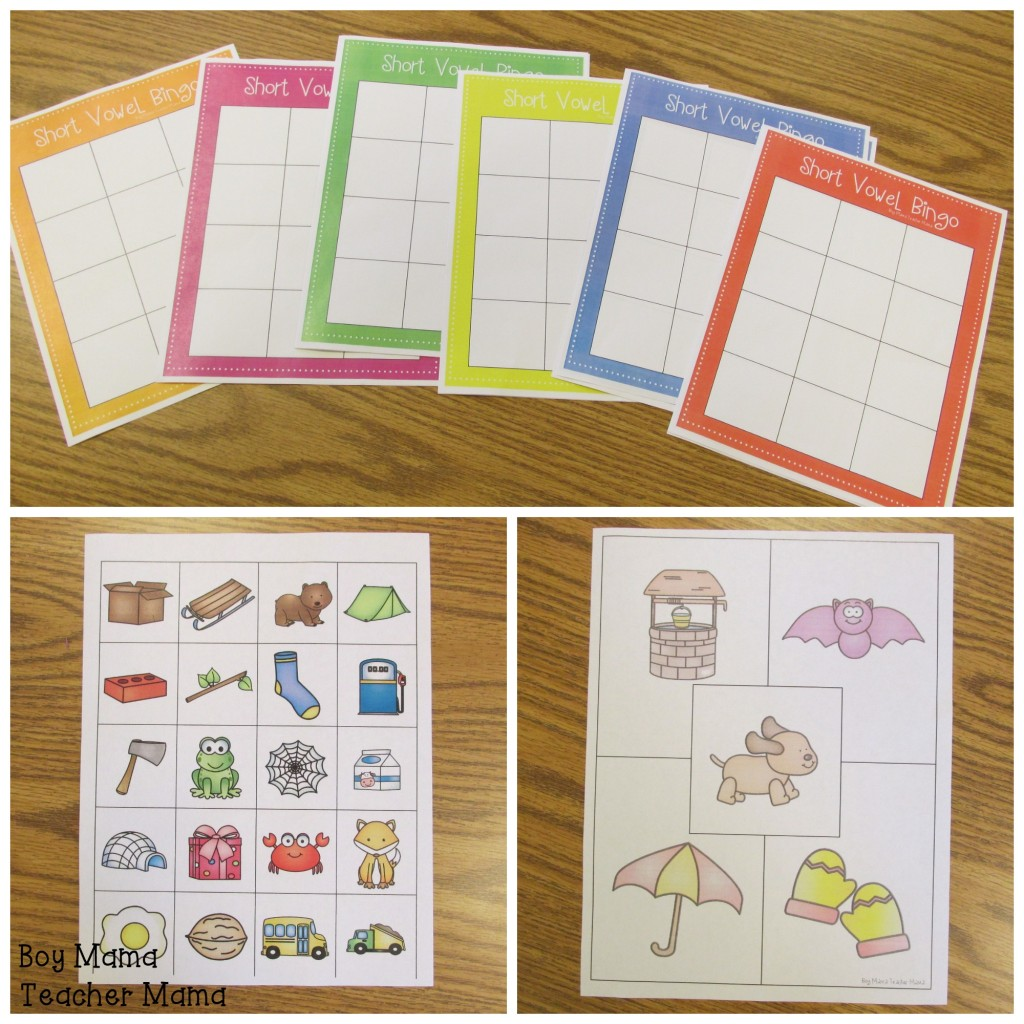 Boy Mama Teacher Mama  Short Vowel Sort and Bingo Game 2