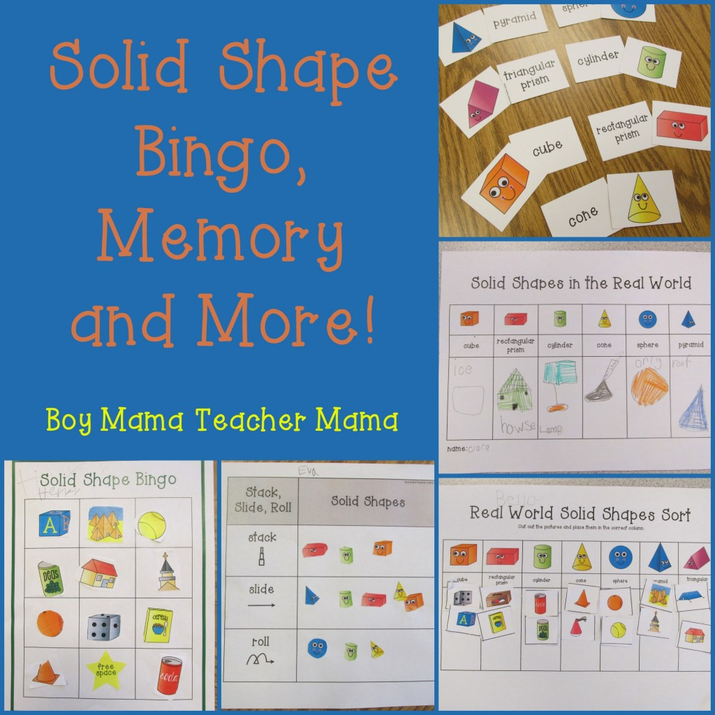 Boy Mama Teacher Mama Solid Shape Bingo, Memory and More!