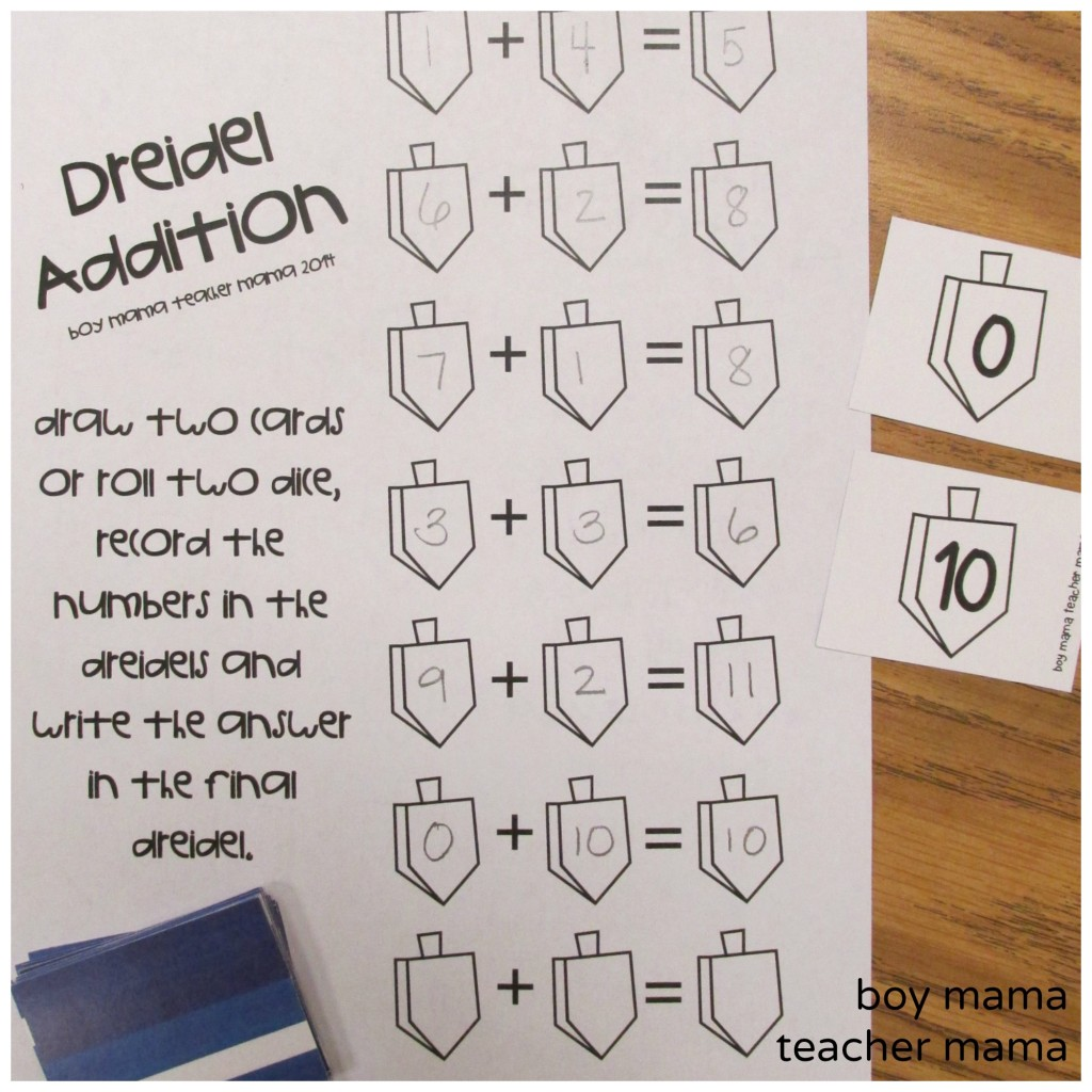 Boy Mama Teacher Mama  FREE Printable Dreidel Math Games