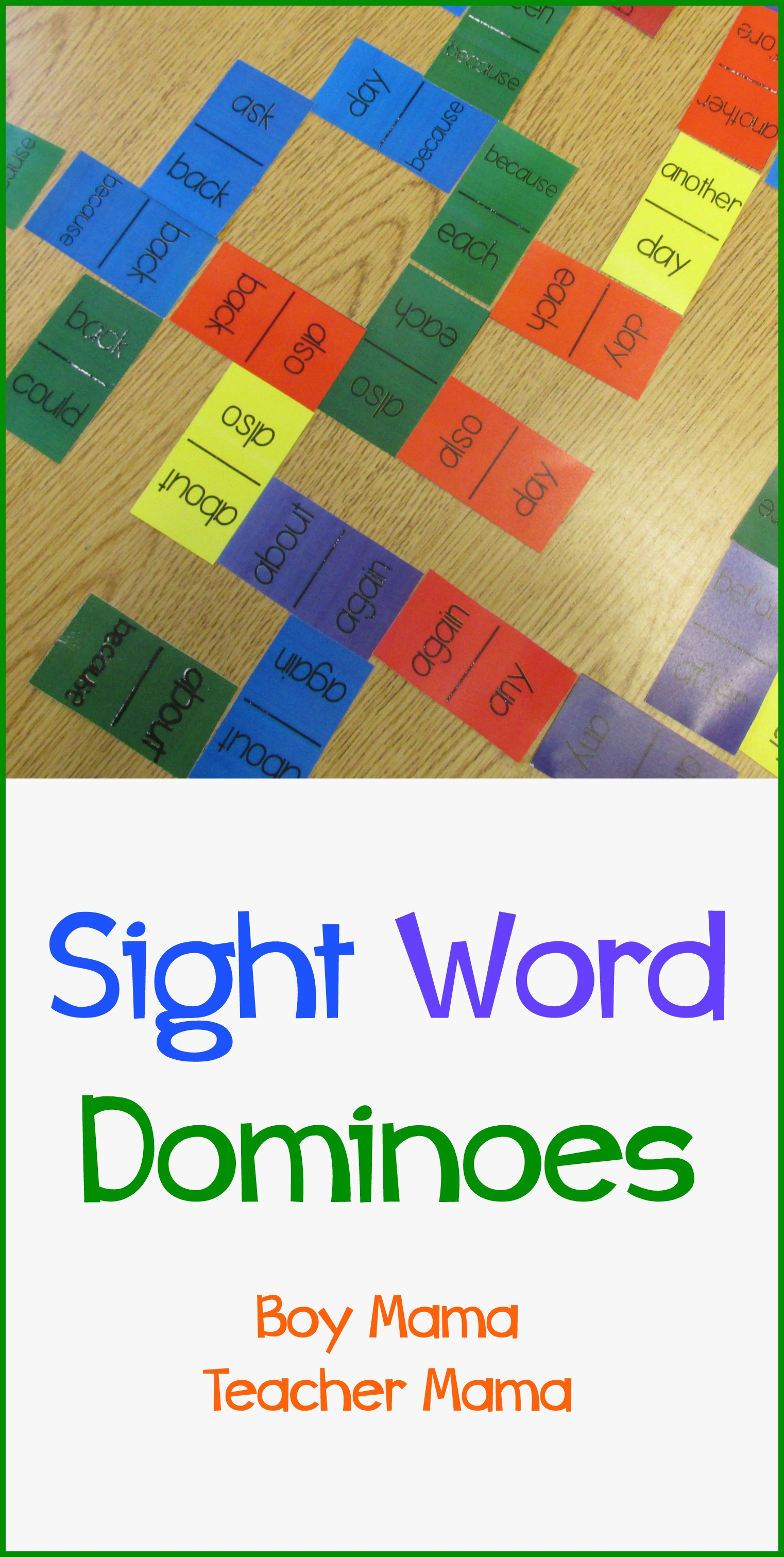 Boy Mama Teacher Mama Sight Word Dominoes on first grade sight words