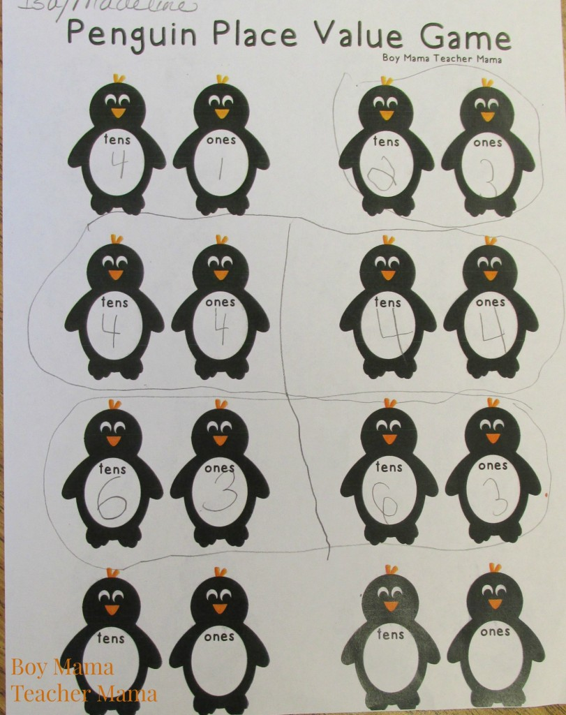 Boy Mama Teacher Mama  Penguin Place Value Game2