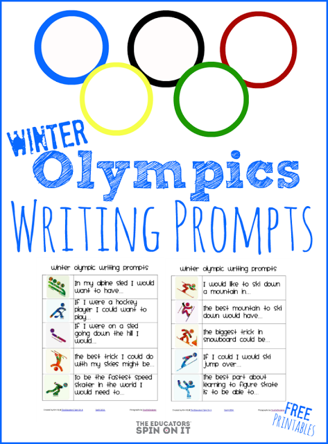 Winter Olympics Writing Prompts from The Educators' Spin On It