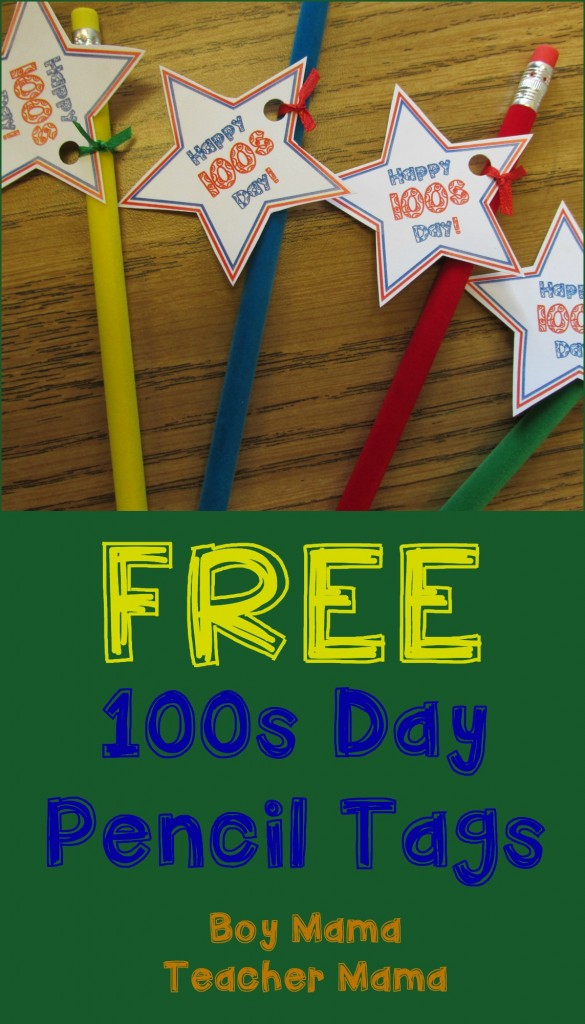 Boy Mama Teacher Mama FREE 100s Day Pencil Tags (featured)