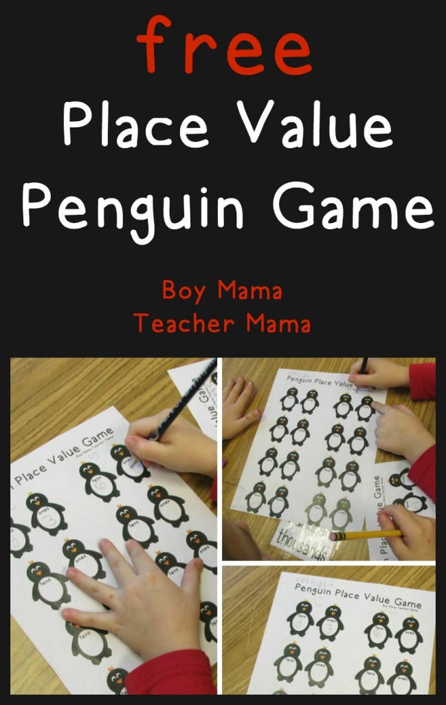Boy Mama Teacher Mama  FREE Place Value Penguin Game