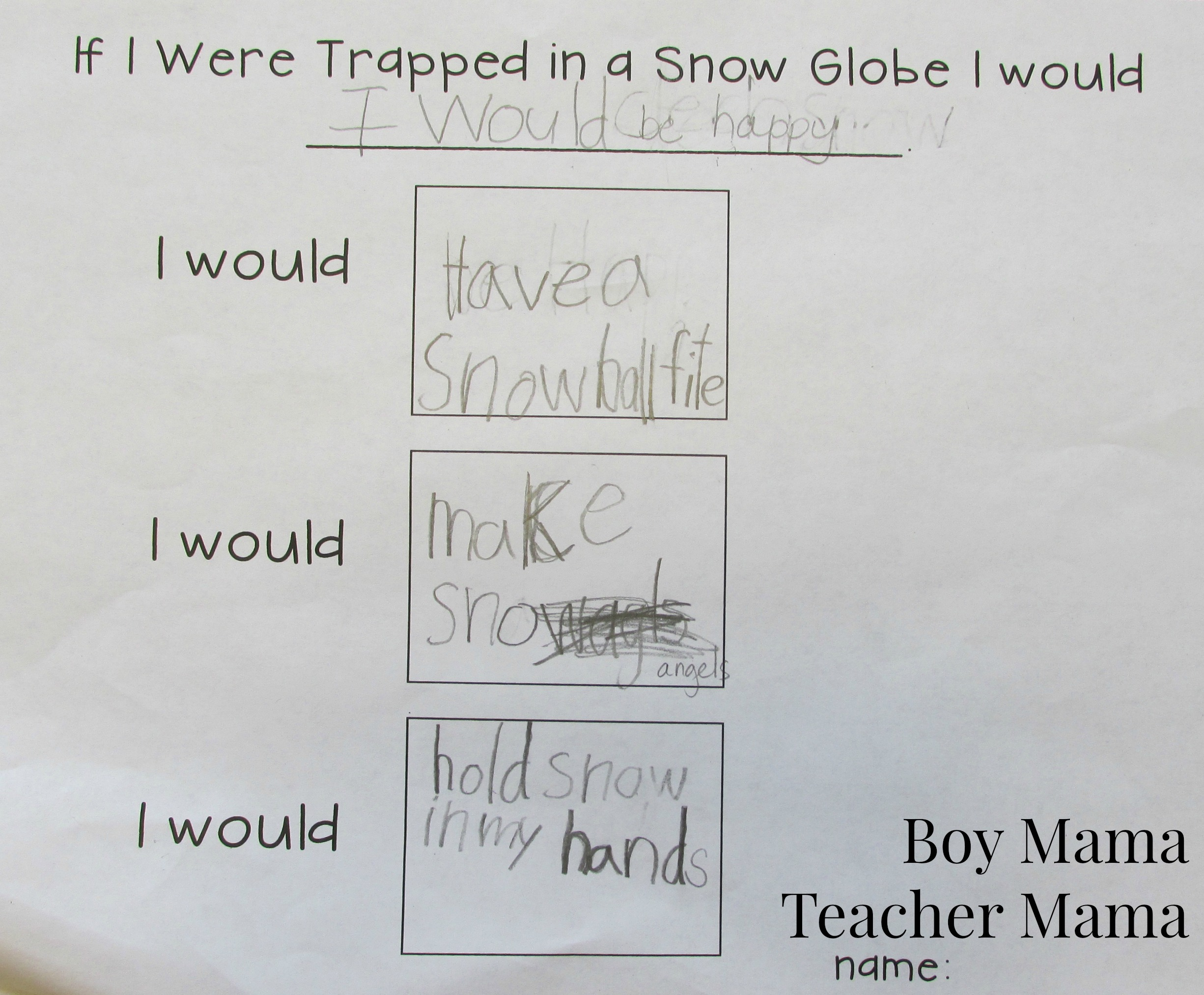Teacher Mama: FREE Trapped in a Snow Globe Writing Printable - Boy ...