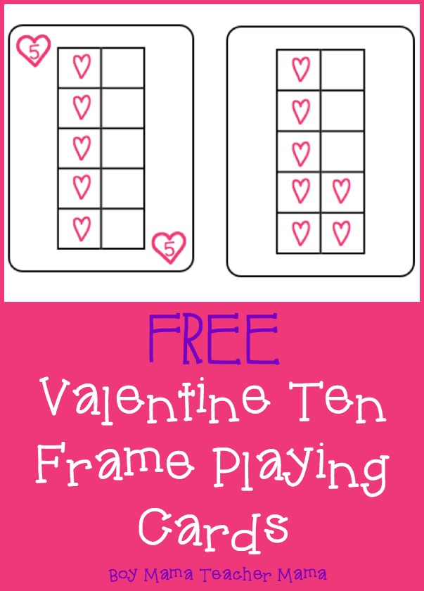 Teacher Mama FREE Valentine Ten Frame Playing Cards After School – Valentine Playing Cards