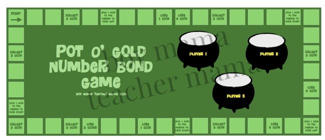 Boy Mama Teacher Mama Pot O' Gold Number Bond Game 4