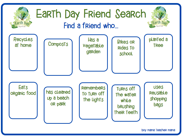 Boy Mama Teacher Mama- Earth Day Friend Search