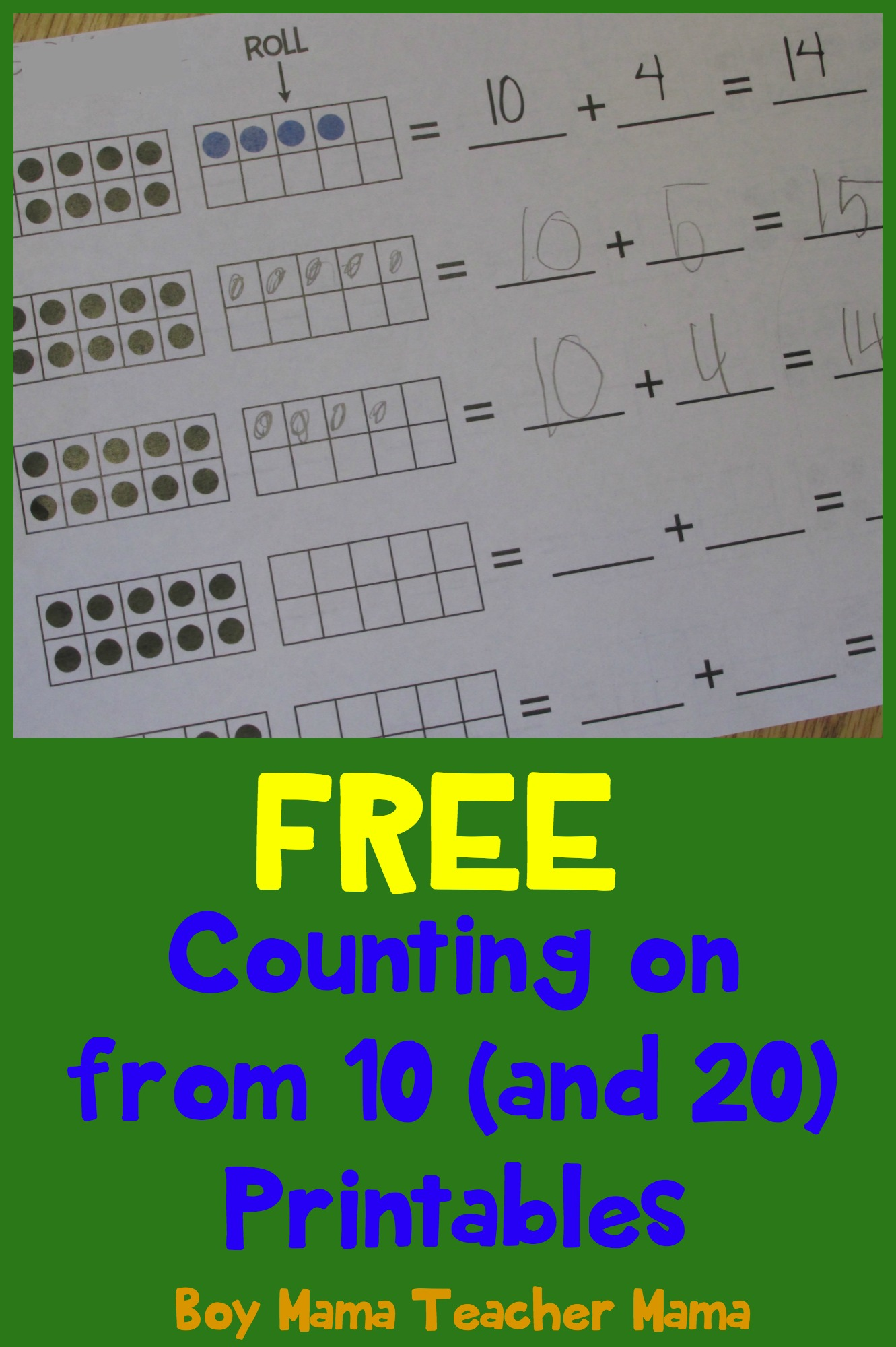 Teacher Mama: FREE Counting on from 10 (and 20) Printables {After ...