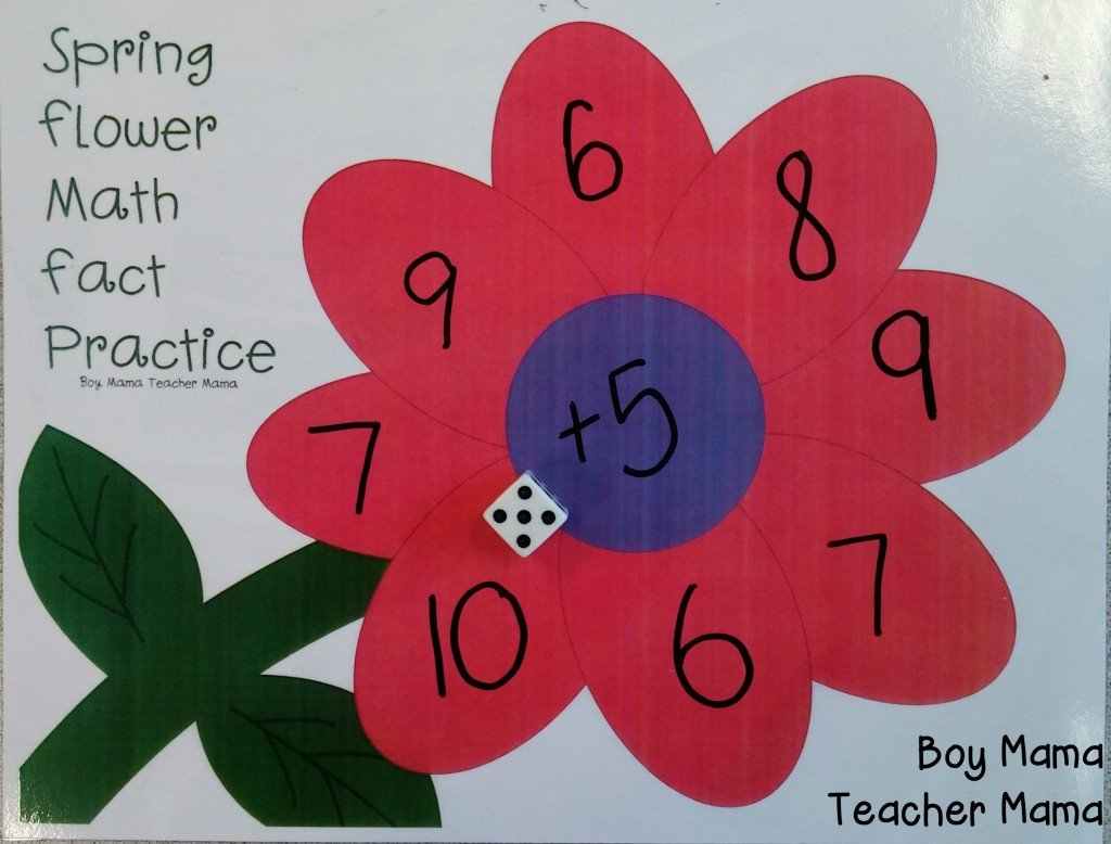 Boy Mama Teacher Mama  Spring Flower Math Fact Practice 2